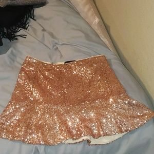Nasty Gal rose gold peplum sequin skirt